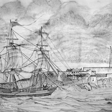 Sailing Ship off Castle Cornet in Guernsey 19th century by ZipaC