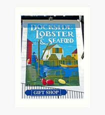 Dockside Lobster and Seafood sign Art Print