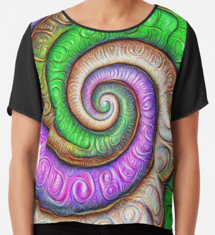 Fibonacci spiral #DeepDream #Art Chiffon Top