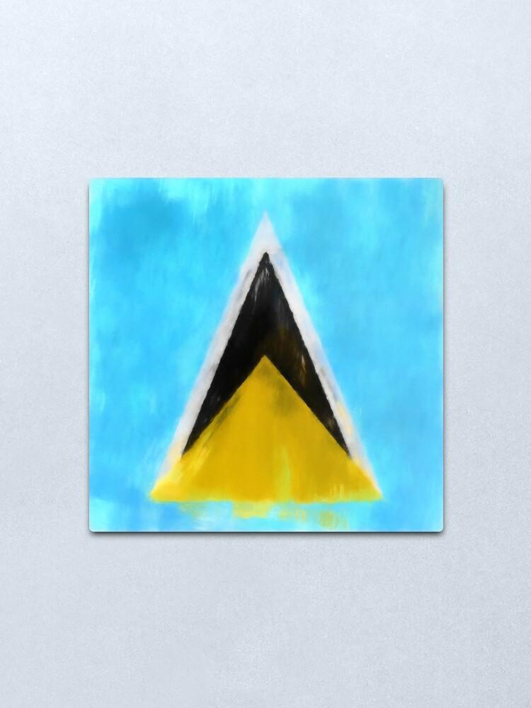 Alternate view of Saint Lucia Flag Reworked No. 1, Series 1 Metal Print