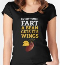 Every Time I Fart, A Bean Gets It's Wings on black2 Women's Fitted Scoop T-Shirt