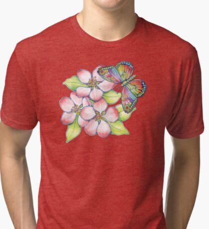 Rainbow Butterfly Blossoms Tri-blend T-Shirt