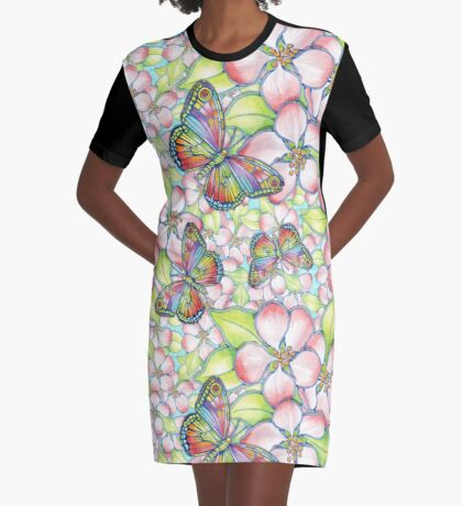 Rainbow Butterfly Blossoms Graphic T-Shirt Dress