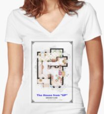 The House from UP - Ground Floor Floorplan Women's Fitted V-Neck T-Shirt
