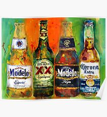 Modelo, Dos Equis, Corona - Mexican Beers   Poster