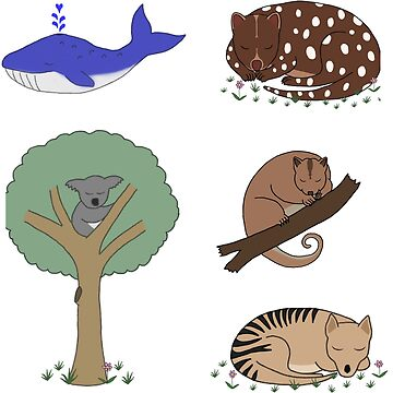 Cute Australian Animal Sticker Set by wanungara