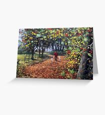 Yellow, green and golden brown, Autumn leaves come falling down Greeting Card