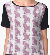 Pastel Pink Kitten Women's Chiffon Top