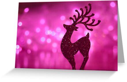 Pink bokeh reindeer by SylviaCook