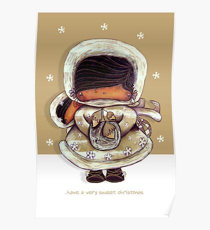 Christmas Card Snow Flower Poster