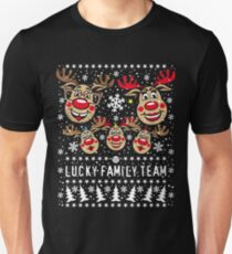 101 Lucky Family Team Reindeer Rudolph Mom Dad 3 kids Christmas Unisex T-Shirt