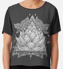 Grey Lotus Flower Geometric Design Chiffon Top