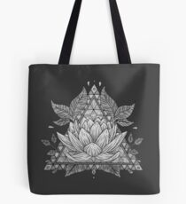 Grey Lotus Flower Geometric Design Tote Bag