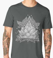 Grey Lotus Flower Geometric Design Men's Premium T-Shirt