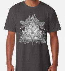 Grey Lotus Flower Geometric Design Long T-Shirt