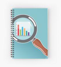 Magnifying glass bar graph Spiral Notebook