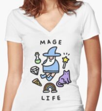 Mage Life Women's Fitted V-Neck T-Shirt