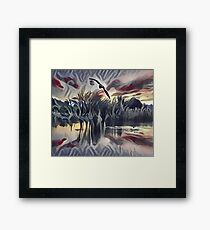 Birds Flying above the Quiet Pond Framed Print