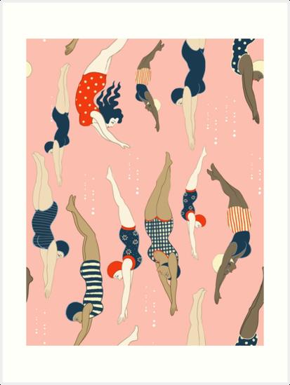 Tauchdamen von einem Weinleseära wiederholen Musterentwurf. Schöne Rose Hintergrund von Cecilia Granata