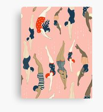 Diving ladies from a vintage era repeat pattern design. Lovely rose background  Canvas Print