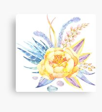 Yellow Peonie Floral Flowers Canvas Print