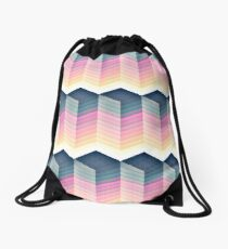 Multi-Colored Cube Pattern Drawstring Bag