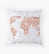 Rose Gold Glitter World Map on White Marble Throw Pillow