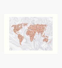 Rose Gold Glitter World Map on White Marble Art Print