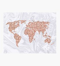 Rose Gold Glitter World Map on White Marble Photographic Print