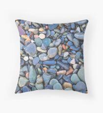 Wet Beach Stones Throw Pillow