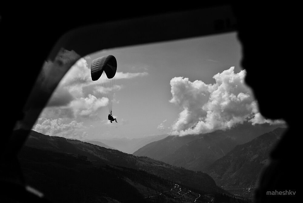 Paragliders near Rohtang Pass, Himachal Pradesh, India. by maheshkv