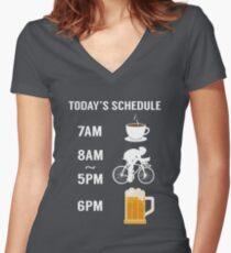 Today's Schedule Cycling Mountain Biking Funny Bike  Women's Fitted V-Neck T-Shirt