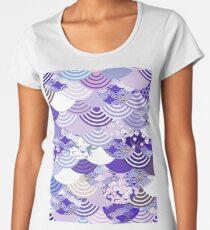Seigaiha Nature background with japanese sakura flower  Women's Premium T-Shirt