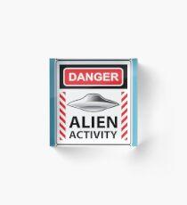 Danger Alien Activity Sign Acrylic Block