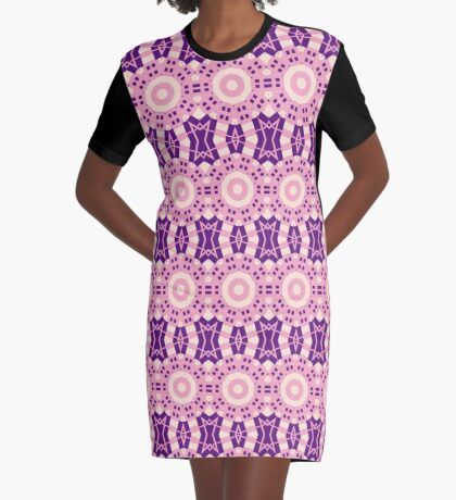Pink And Purple Circle Crosses  Graphic T-Shirt Dress