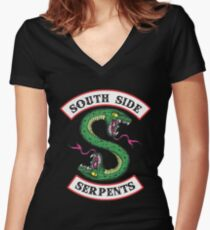 South Side Serpents riverdale Women's Fitted V-Neck T-Shirt