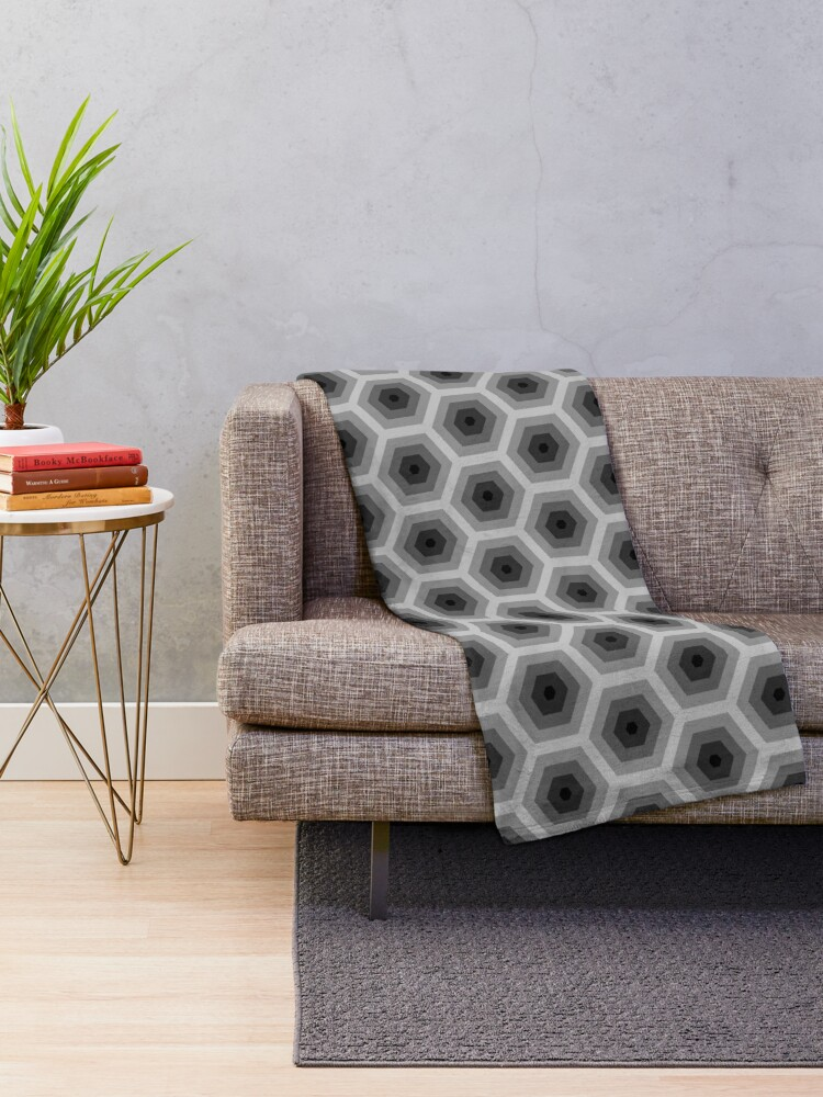 Alternate view of Geometric Pattern: Hexagon: Grey Throw Blanket