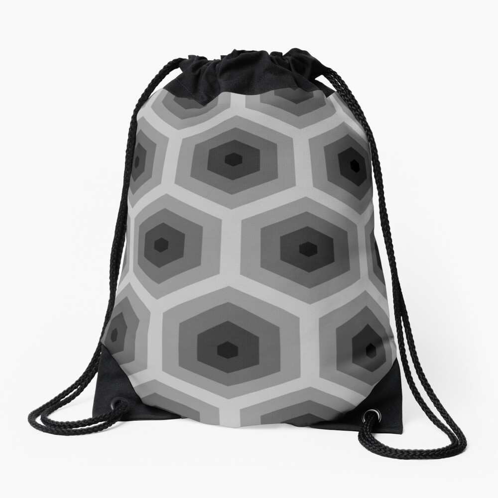 Geometric Pattern: Hexagon: Grey Drawstring Bag