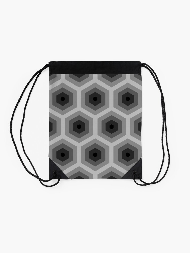 Alternate view of Geometric Pattern: Hexagon: Grey Drawstring Bag