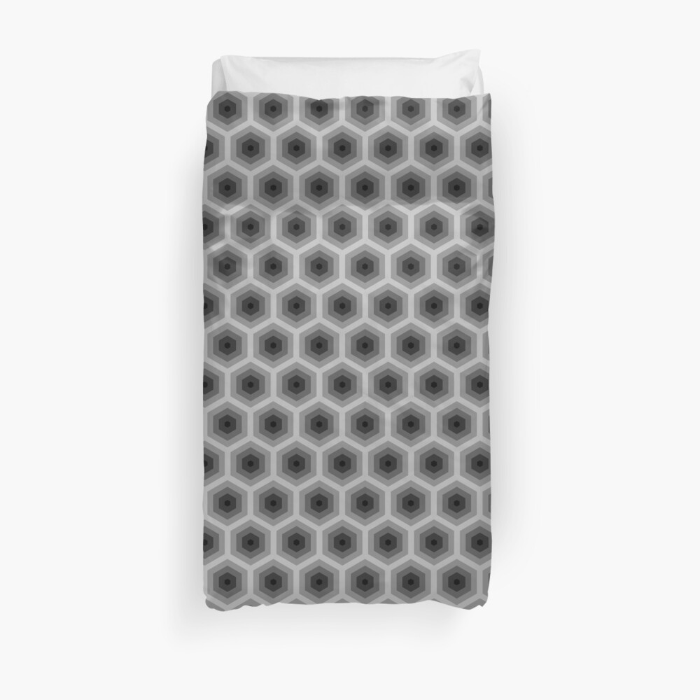 Geometric Pattern: Hexagon: Grey Duvet Cover