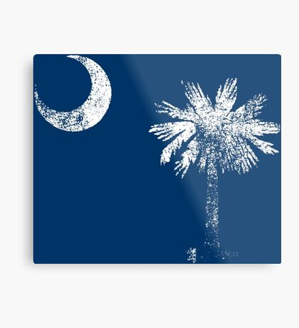 South Carolina Vintage Distressed Flag Metal Print