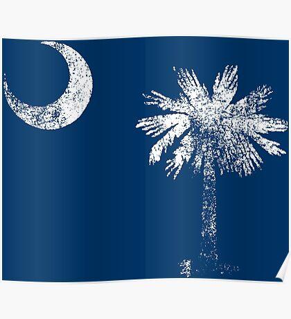 South Carolina Vintage Distressed Flag Poster
