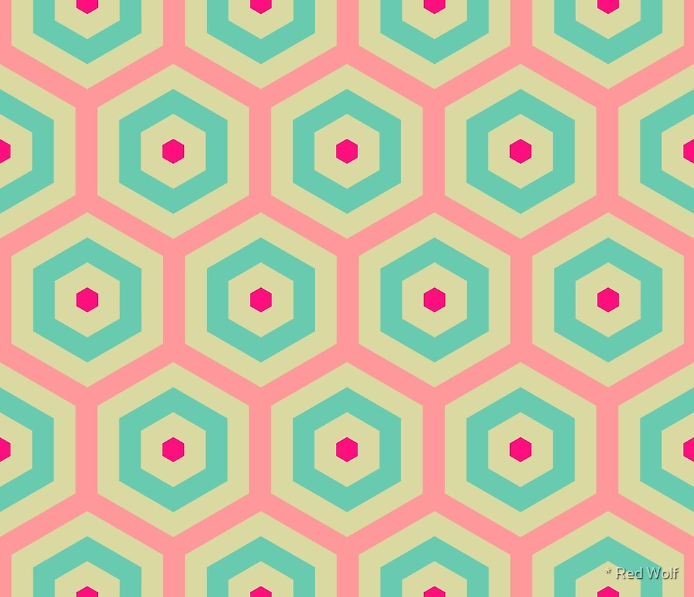 Geometric Pattern: Hexagon: Pink/Blue by * Red Wolf