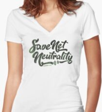 Save Net Neutrality Fitted V-Neck T-Shirt