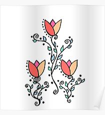 Three Tulips Doodle Art – Coral Pink Yellow Poster