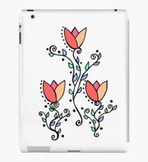 Three Tulips Doodle Art – Coral Pink Yellow iPad Case/Skin