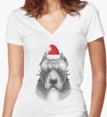 Christmas Pitbull Women's Fitted V-Neck T-Shirt