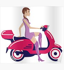 Girl On Scooter Poster