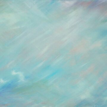 Abstract blue haze float art by sarahtrett