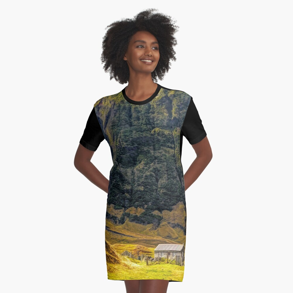 Cabin in the Wilderness Graphic T-Shirt Dress Front